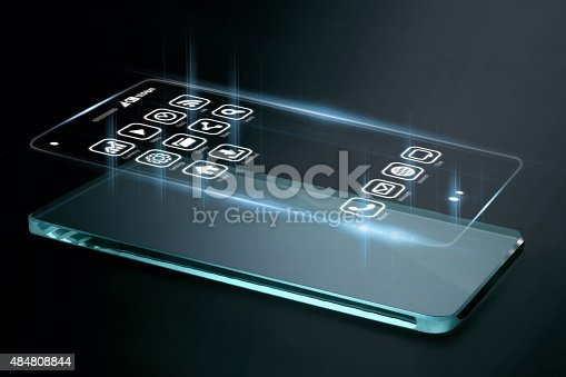 istock Three dimensional apps on smartphone screen. 484808844