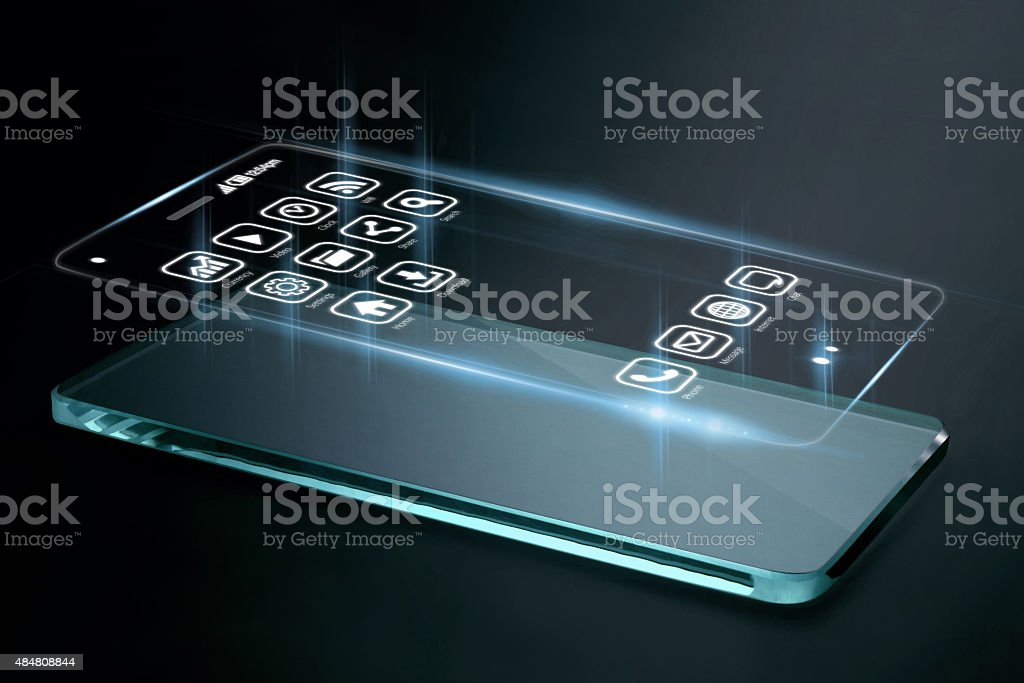 Three dimensional apps on smartphone screen. stock photo