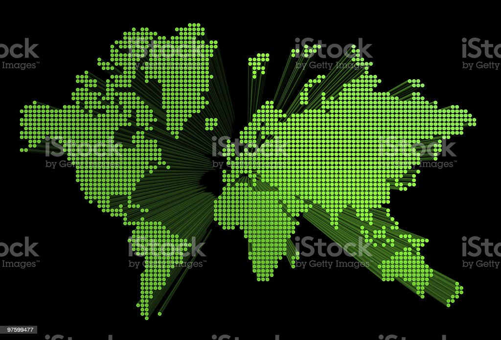 three dimensional green world map royalty-free stock photo