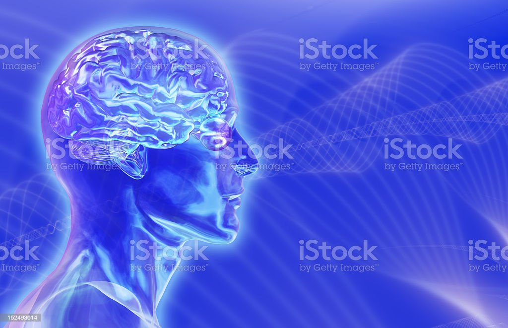 Three dimensional illustration depicting brainwaves stock photo