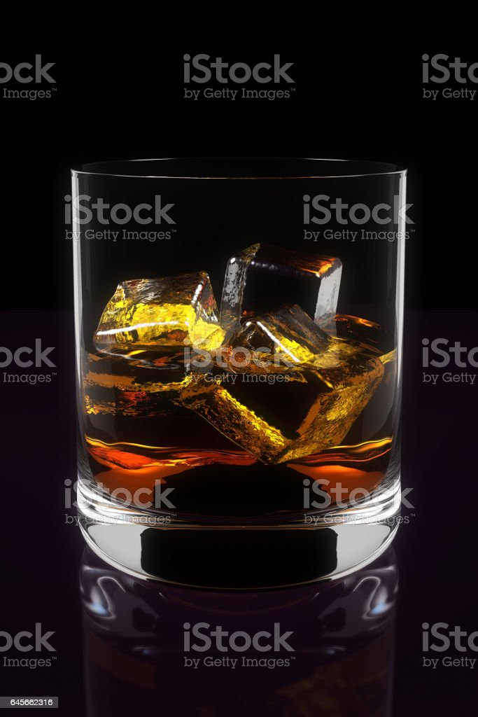 Three Dimensional Illustration of Whiskey in Glass stock photo