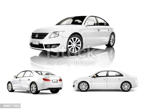 istock Three Dimensional Image of a White Car 488872383