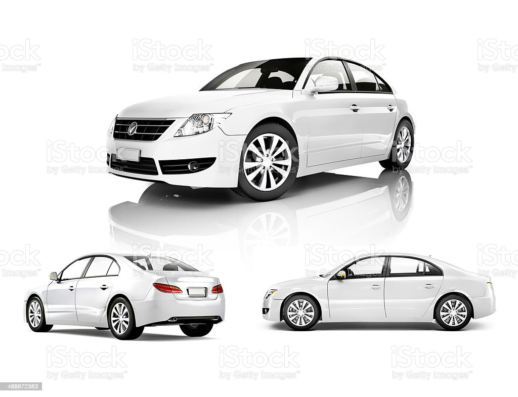 Three Dimensional Image of a White Car stock photo