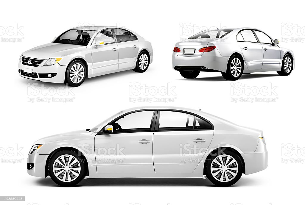 Three Dimensional Image of a White Car royalty-free stock photo