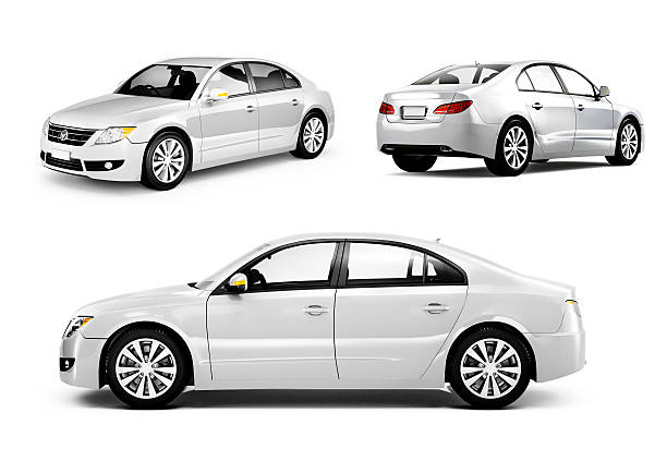 Three Dimensional Image of a White Car Three Dimensional Image of a White Ca side view stock pictures, royalty-free photos & images