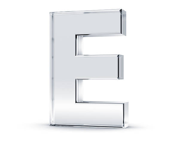 Three dimensional letter E on white background stock photo