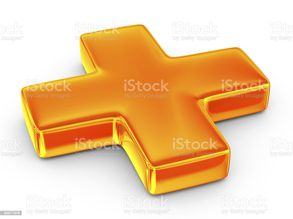 A three dimensional orange cross on a white background stock photo
