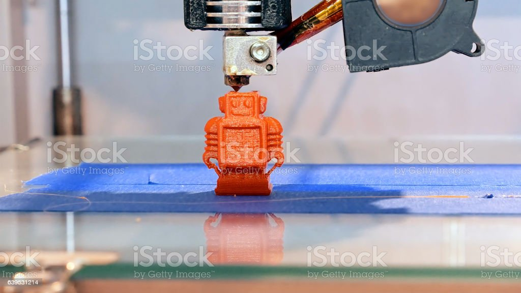 Three dimensional plastic 3d printer stock photo