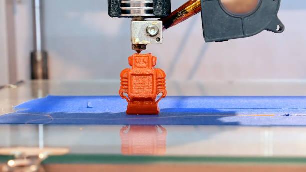 Three dimensional plastic 3d printer stock photo