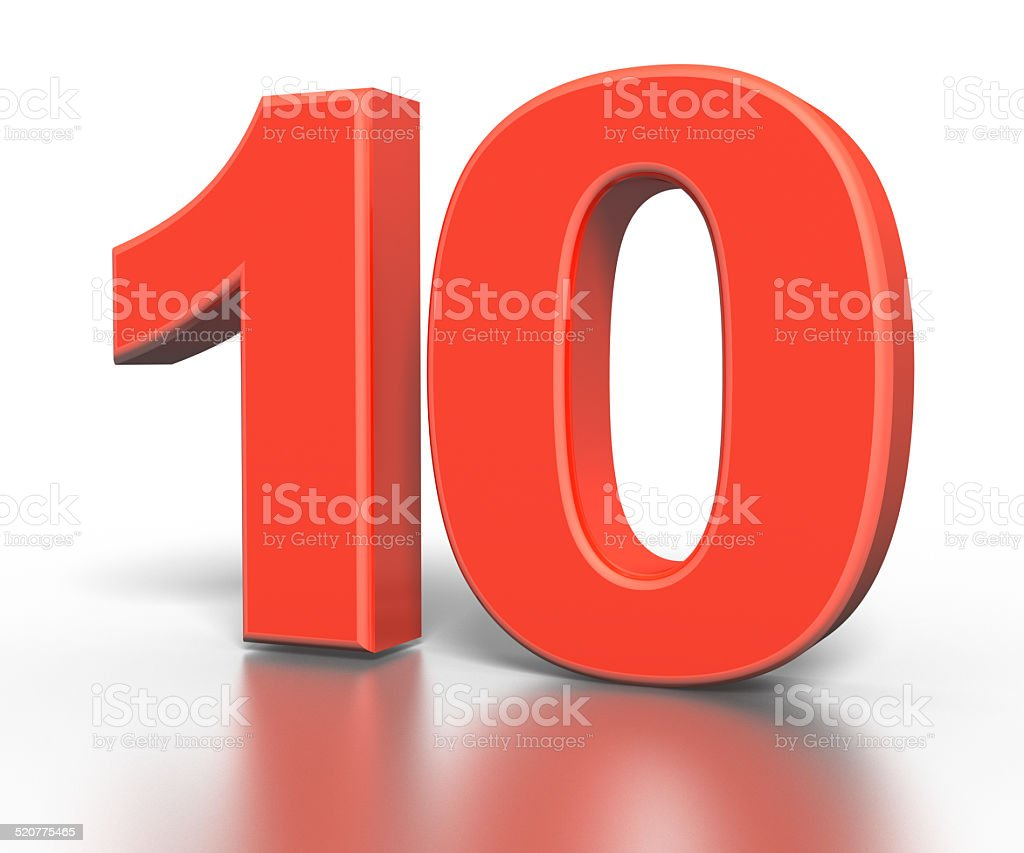 Three dimentional red number collection - ten stock photo