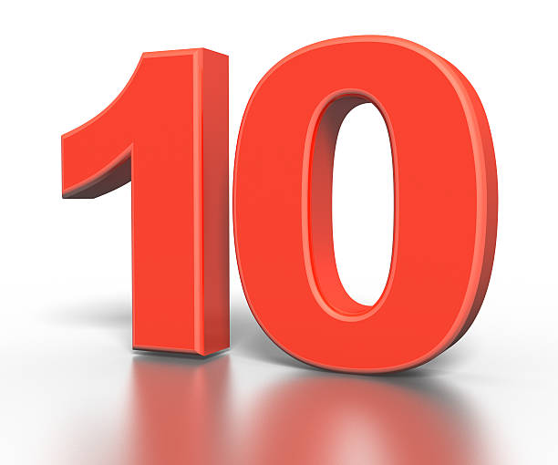 three dimentional red number collection - ten - number 10 stock photos and pictures