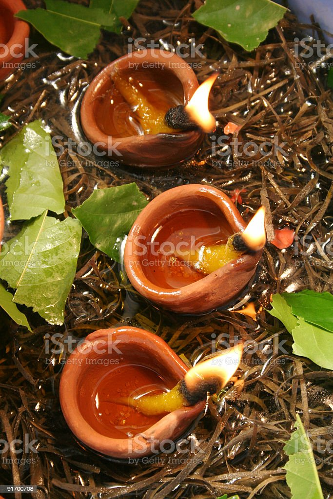 Three Diyas - Celebration of diwali royalty-free stock photo