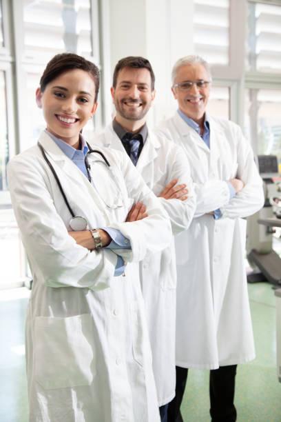 Three doctors stock photo