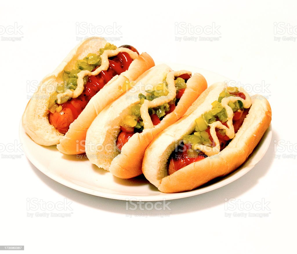 Three dogs in a bun royalty-free stock photo