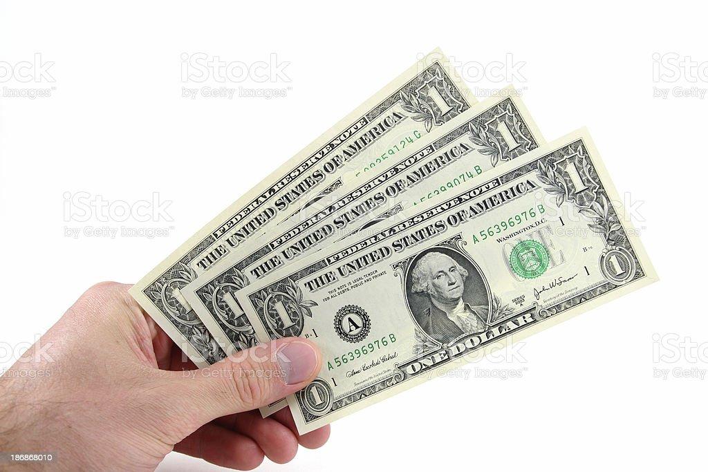 Three Dollars in Hand royalty-free stock photo