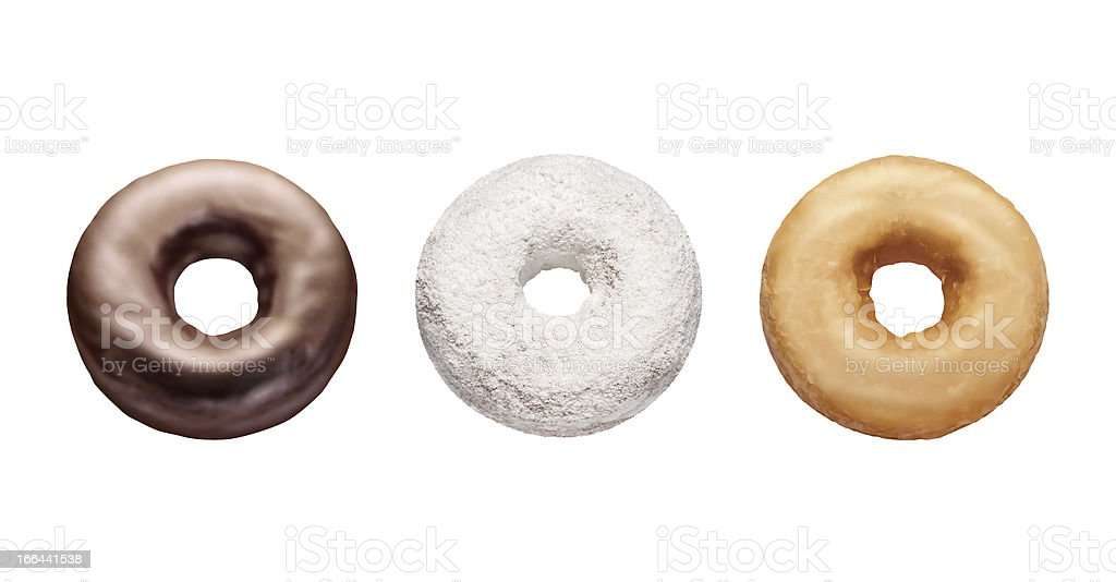 Three Donuts Isolated on white stock photo