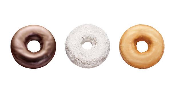 trois donuts isolé sur blanc - glaçage photos et images de collection