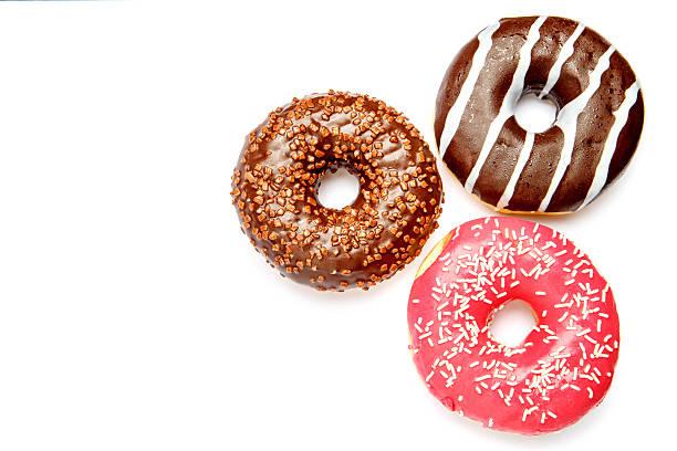 three Donuts isolated on white ストックフォト