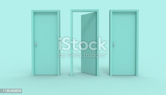 istock Three door Blue opened stands between two closed Minimal idea space room and creative Background - 3d rendering 1130463829