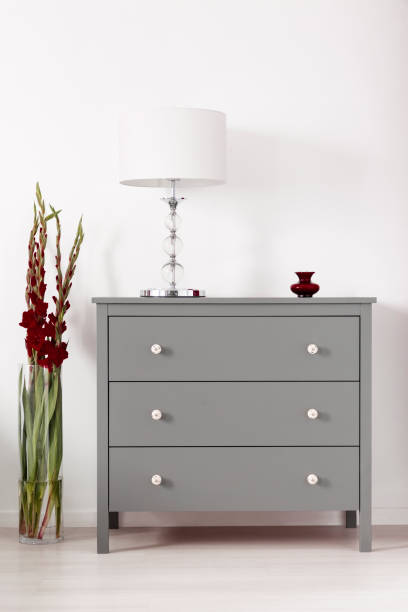 Three drawer gray cabinet with a lamp on and a vase of burgundy gladiolas by in a glamour furniture showroom interior. Real photo. stock photo
