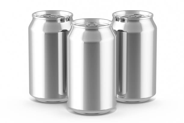 three drink cans - alluminio foto e immagini stock