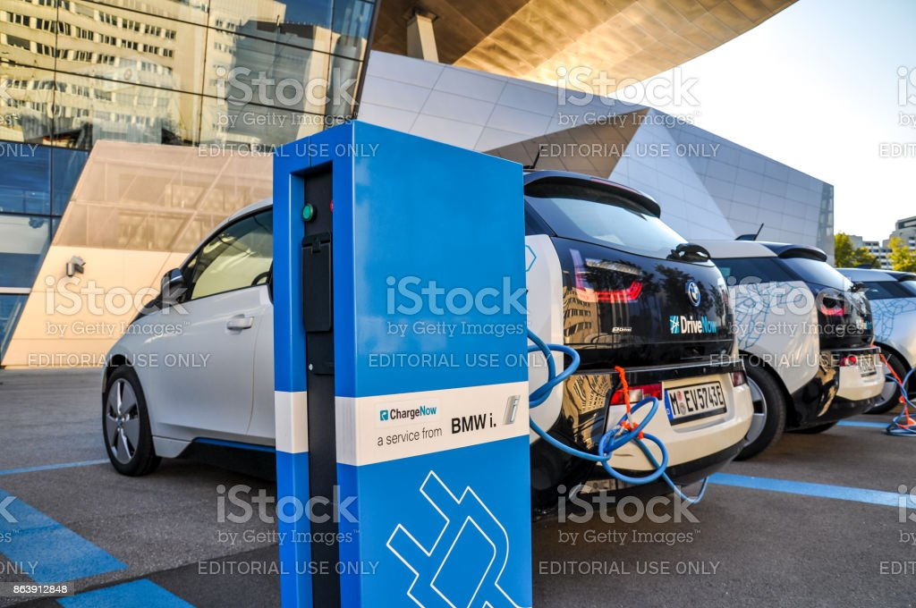 Three Drivenow Bmw I3 Electric Cars Being Charged At A Charging