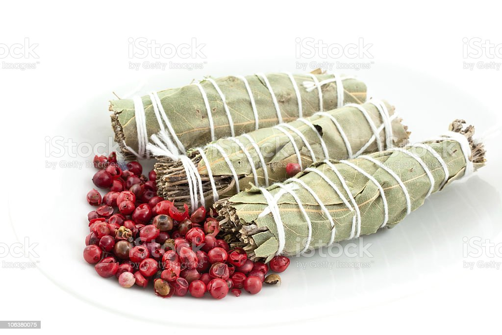 three dry bouquets garni and pink pepper royalty-free stock photo