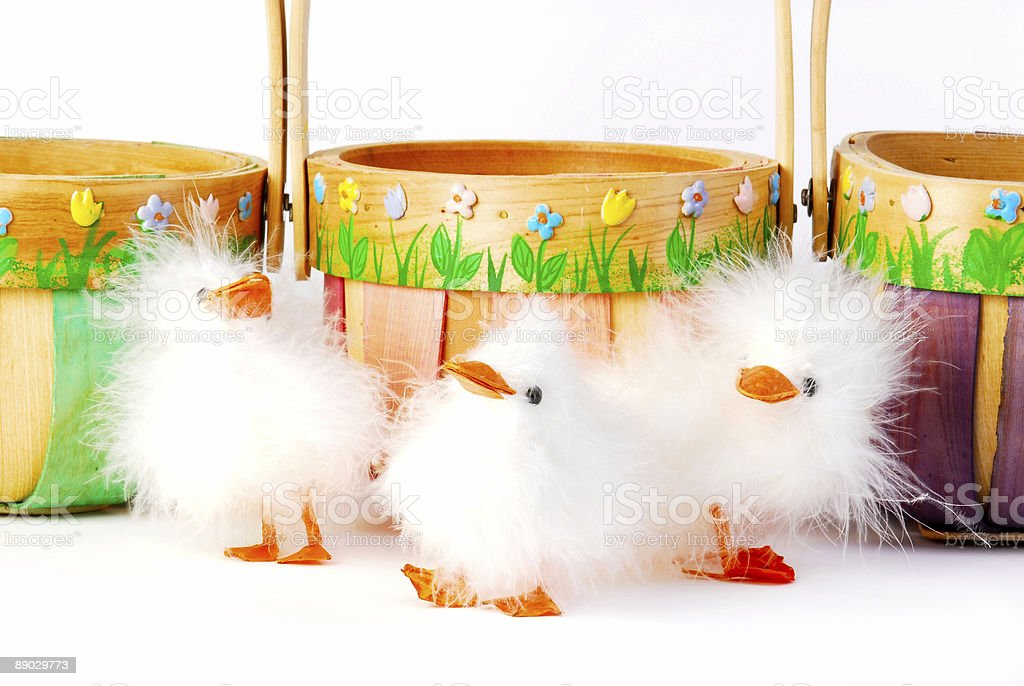 Three Easter chicks royalty-free stock photo