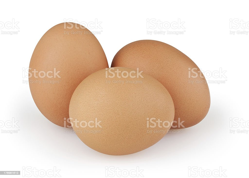 Three eggs + clipping path stock photo