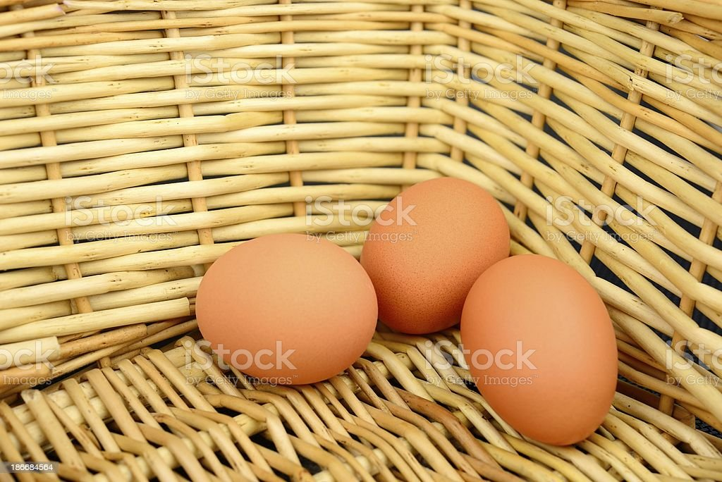 Three eggs in the basket royalty-free stock photo