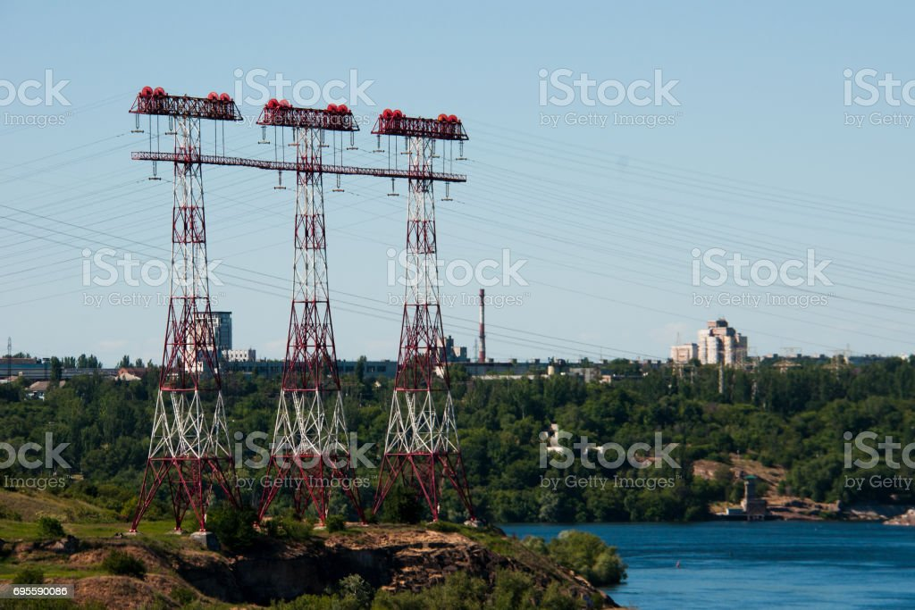 Three electric supports stock photo
