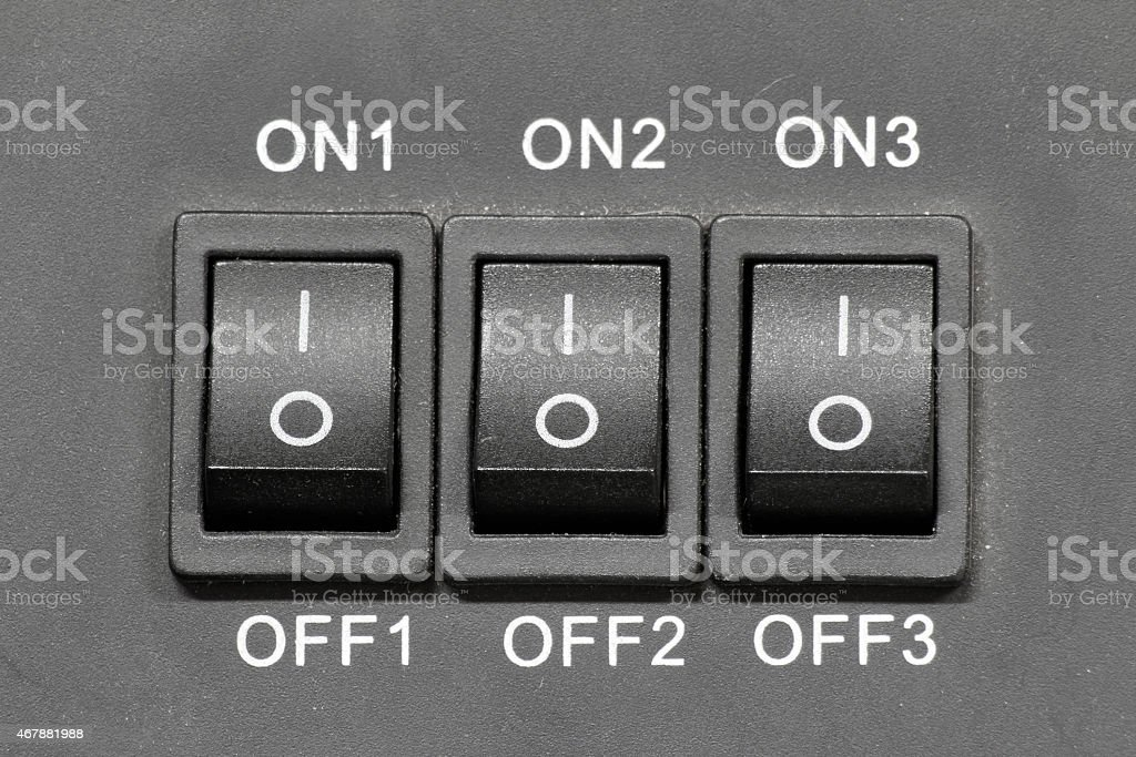 three Electrical switches on-of stock photo