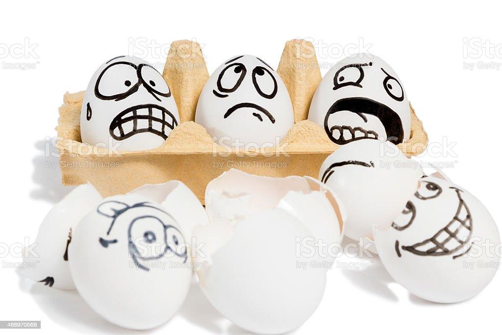 Three emotional eggs stock photo