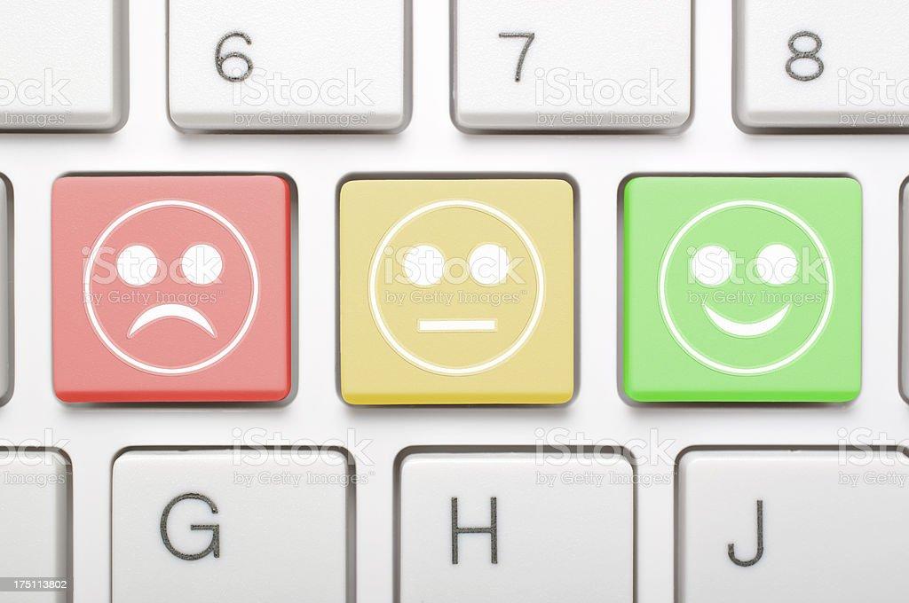 Three emotions keys on keyboard royalty-free stock photo