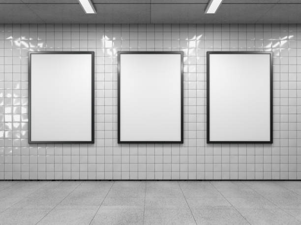 Three empty billboard. Three blank poster in public place. Vertical light box mockup on subway station. 3D rendering. underground stock pictures, royalty-free photos & images
