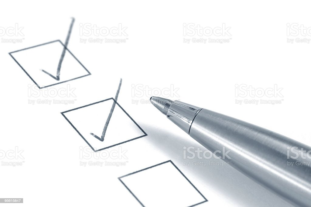 Three empty boxes with two checkmarks royalty-free stock photo