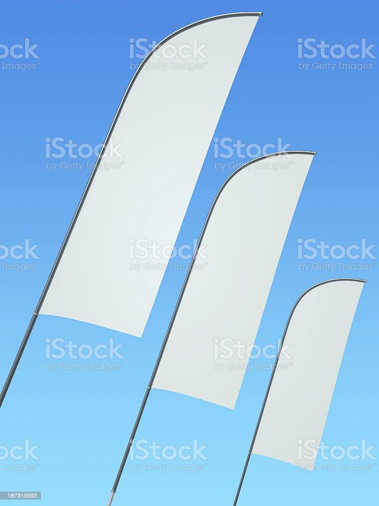 Drei leere feather banner flags auf Stangen – Foto