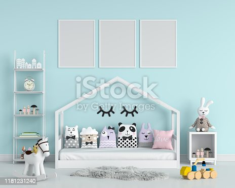 istock Three empty photo frame for mockup in child bedroom, 3D rendering 1181231240