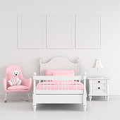Three empty photo frame for mockup in white child bedroom interior, 3D rendering