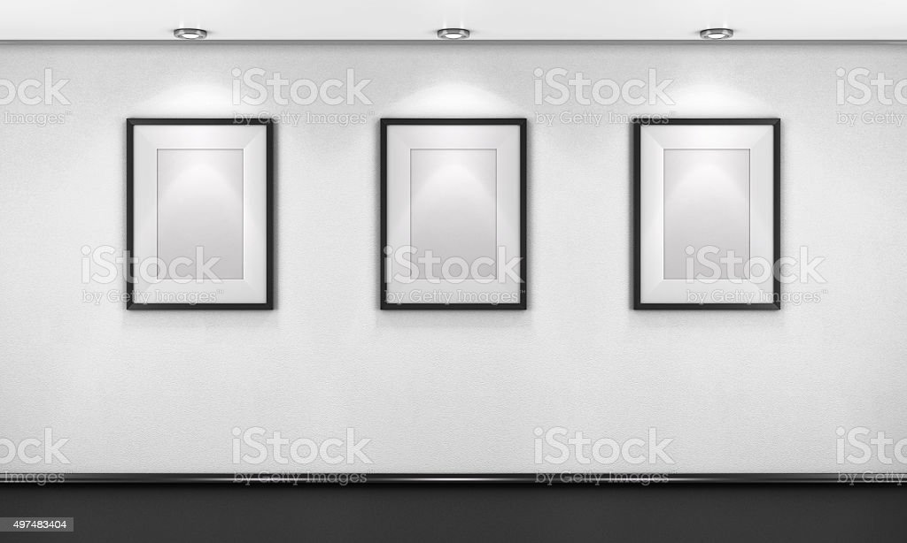 Three empty pictures in the gallery. 3d render.