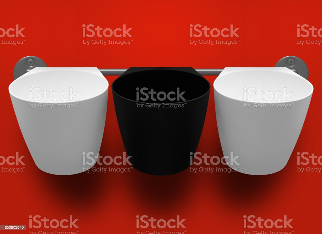 Three empty plastic cups. Isolated stock photo