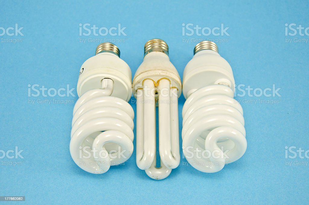 three energy saving lamps royalty-free stock photo