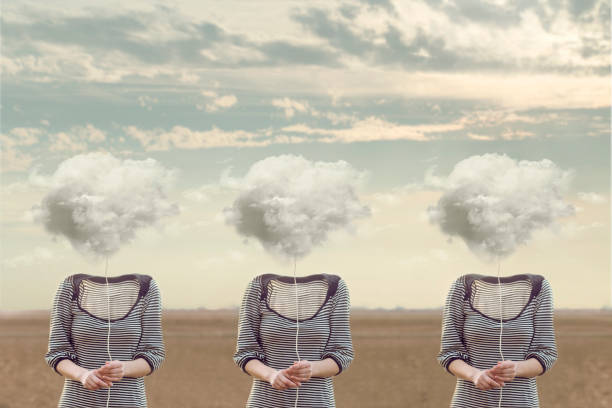 three equal  persons  hiding his face with a cloud, conceptual image stock photo