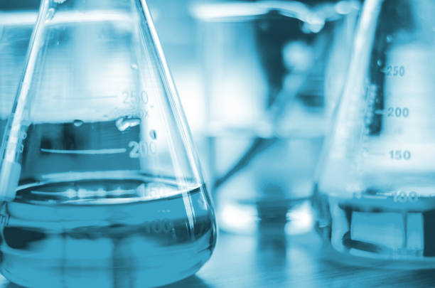 three erlenmeyer flask , Glassware on  science laboratory research and development stock photo