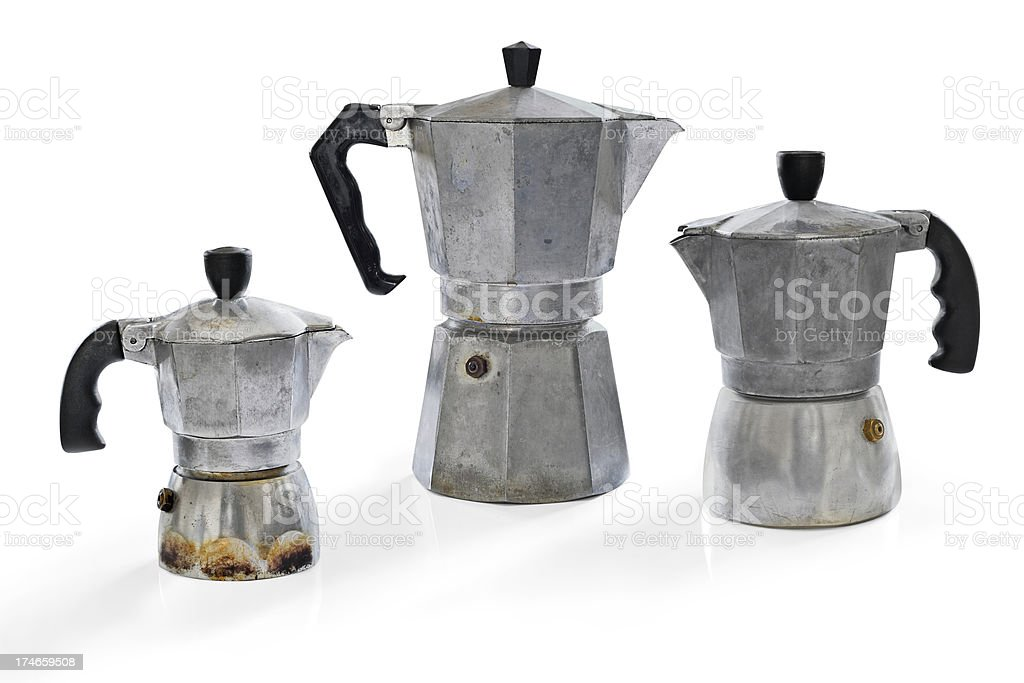 Three espresso coffee makers royalty-free stock photo