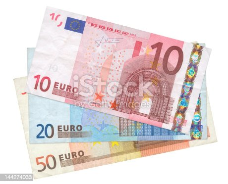 close-up of three Euro banknotes isolated on white background, see also: