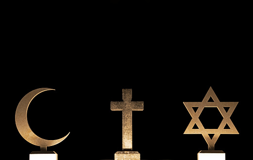 Symbols of the Three main  Faiths of the world  crescent moon for Islam, holy cross for Christianity and David star for Judaism
