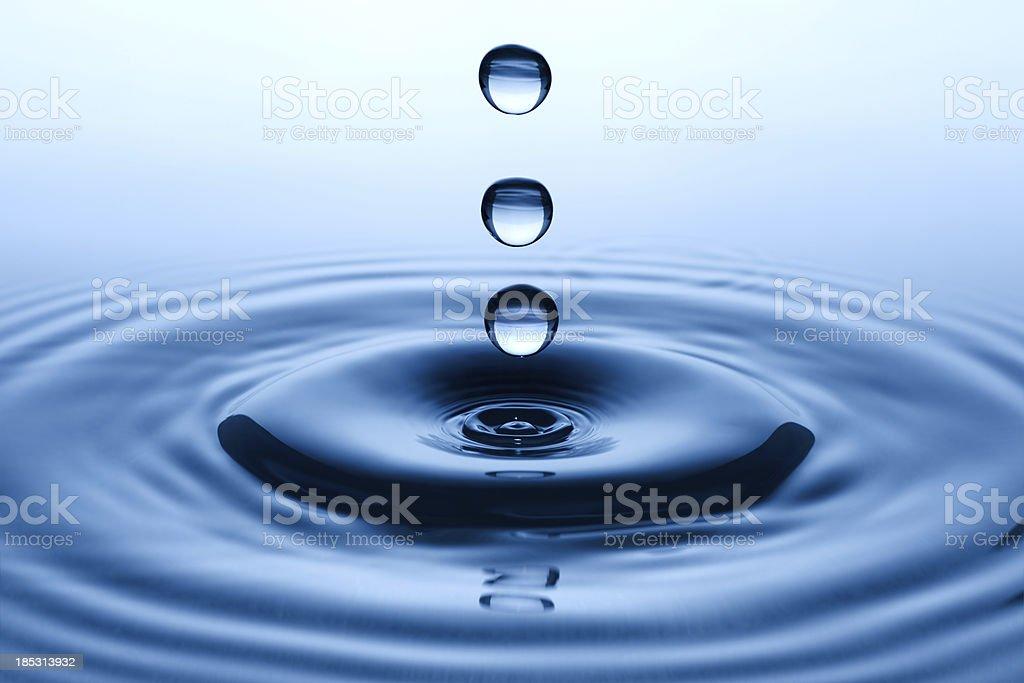 Three falling water drops royalty-free stock photo