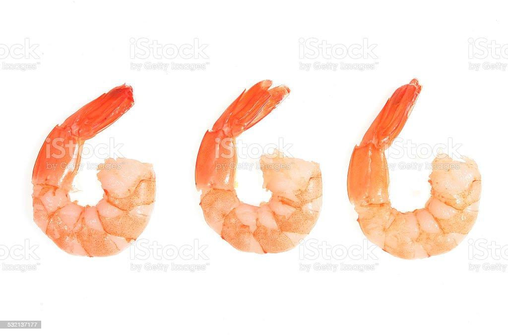 Three fantail prawns stock photo