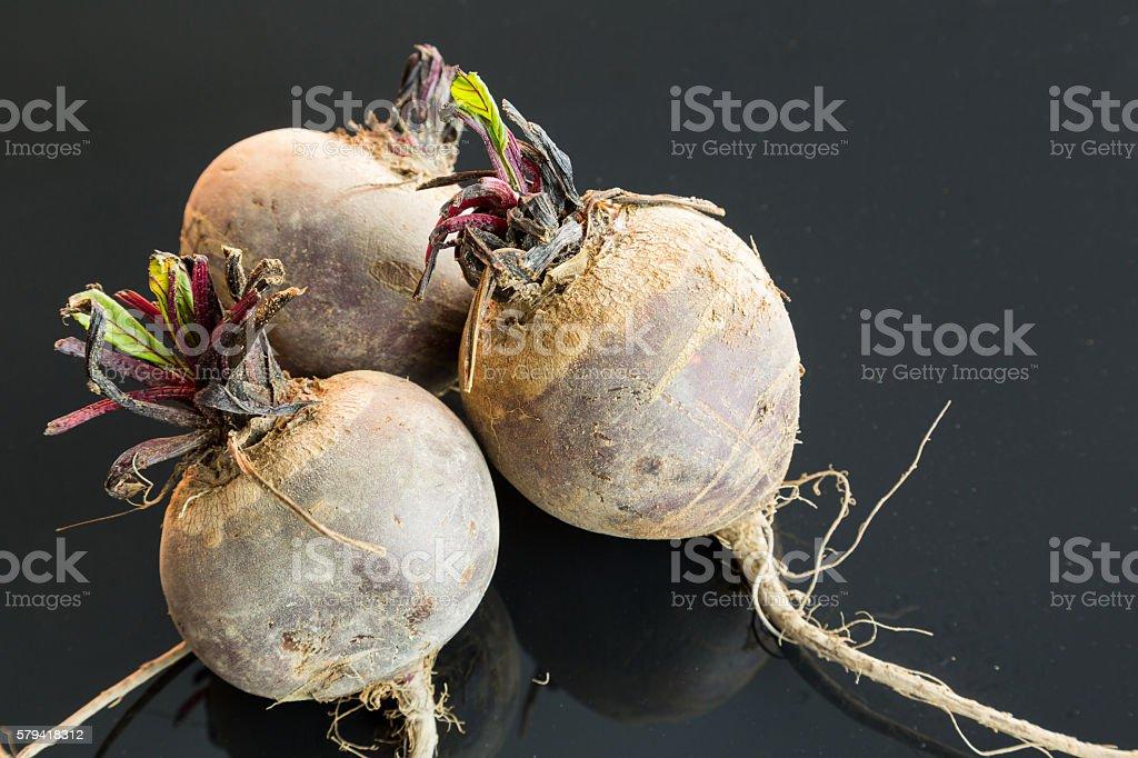 Three farm fresh raw beetroot stock photo